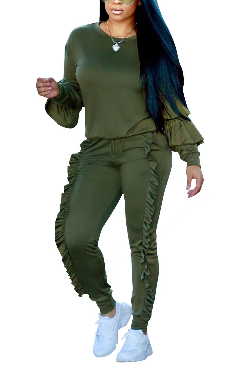 Women's 2 Pieces Sets Ruffles Sleeve Sweatshirts Pants Tracksuit Outfits Green L