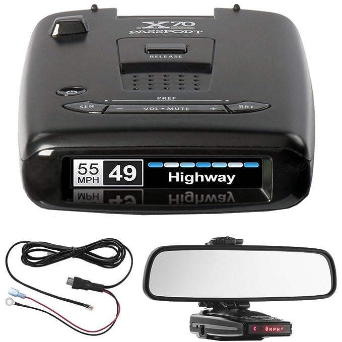 Escort X70 Passport Radar Detector de corriente incluye, coche Espejo Soporte de montaje para detectores