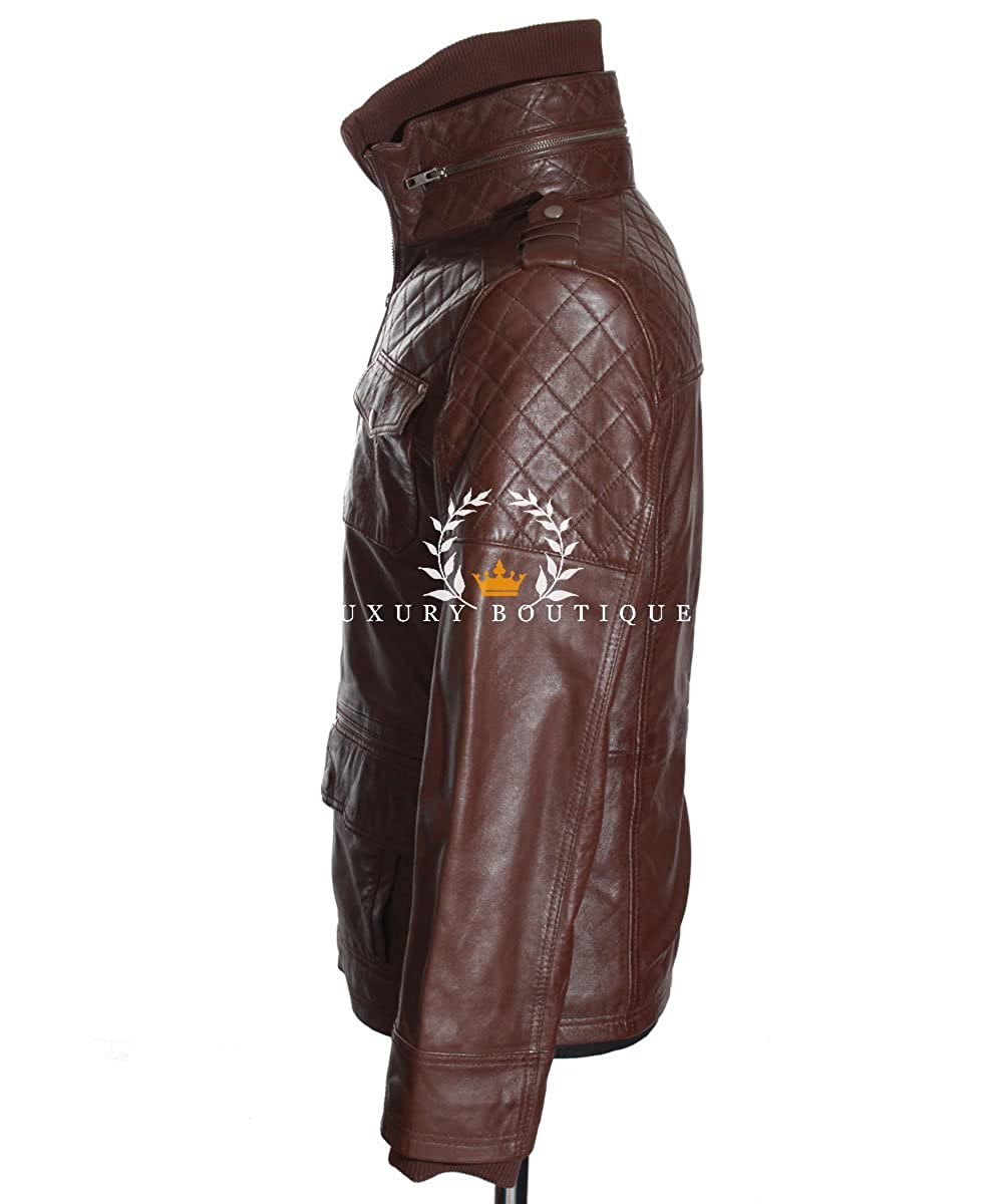 Franco Brown Men/'s New Retro Casual Real Waxed Quilted Leather Safari Jacket