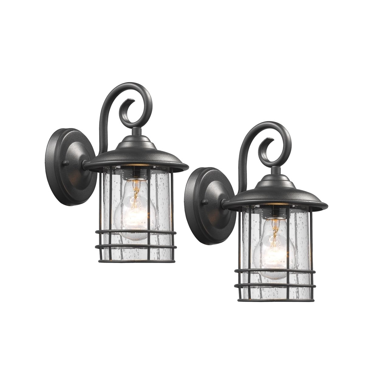 Chloe CH22055BK10-OD2 10 in. Lighting Transitional 1 Light Black Outdoor Wall Sconce - Pack of 2 - Textured Black