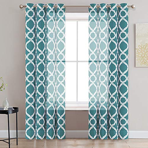 KGORGE Contemporary Moroccan Print Sheer Curtains for Home & Kitchen, Soft & Firm Curtain Drapes for Living Room/Patio Door/Rural/Cottage, Diffuse Light & Heat, 52 x 95 inches, Teal, 2 - Curtains Sheer Contemporary