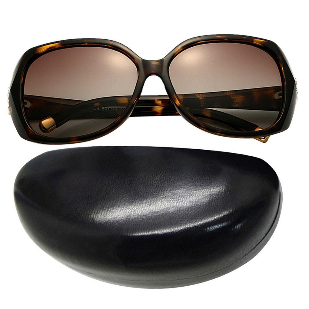 Women's Luxury Polarized Oversized Sunglasses Outdoor Sports Eyewear with Case Leopard Frame