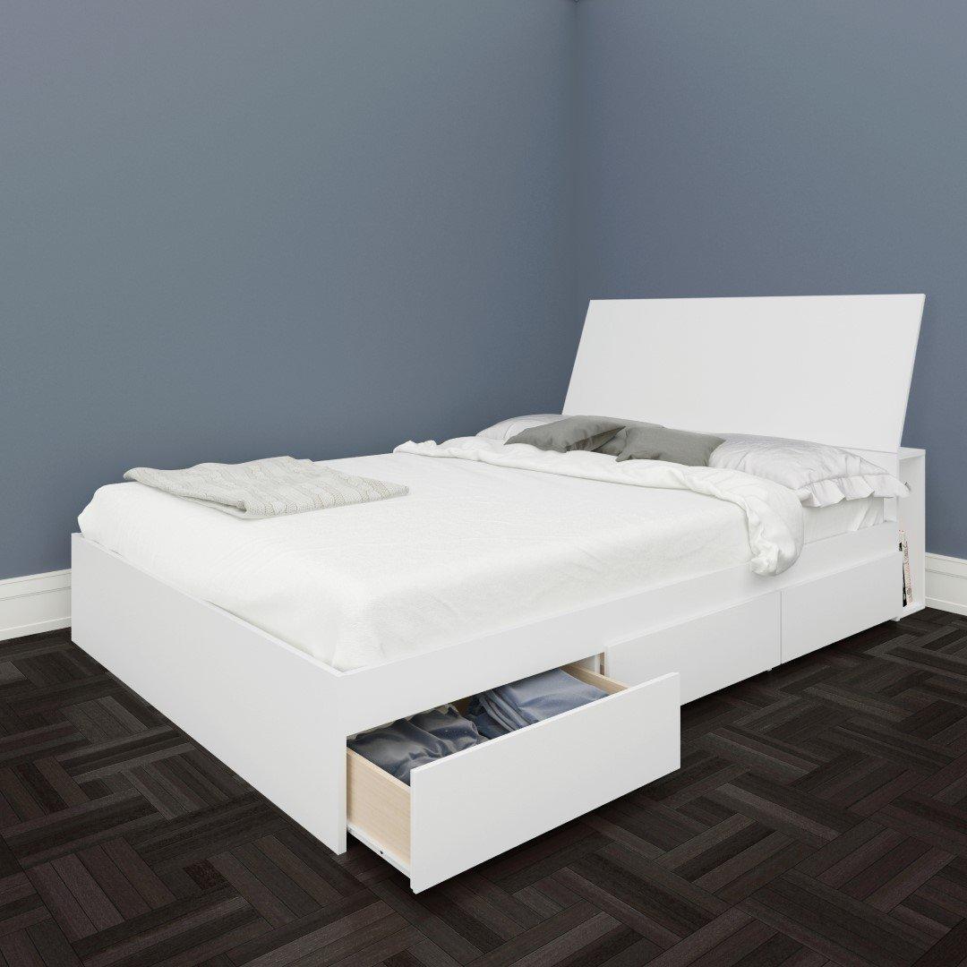 amazoncom nexera blvd full size storage bed white kitchen u0026 dining