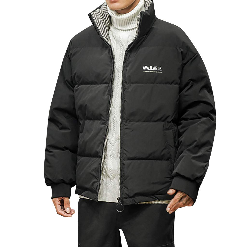 Botrong Men's Winter Pure Color Cotton Thickening Warm Cotton Clothing Padded Coat (Black,XXXL) by Botrong