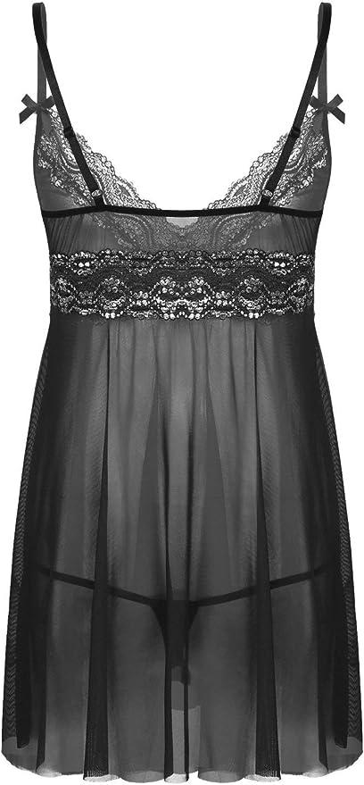 Men Lingerie Set Sissy Lace G-string Mesh Dress Nightwear Crosdresser Sleepwear