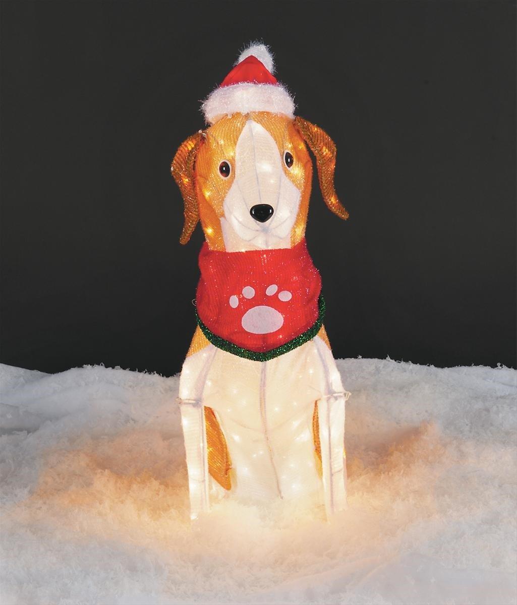 amazoncom 30 tall tinsel beagle christmas prop decoration outdoorindoor garden outdoor - Outdoor Lighted Animal Christmas Decorations