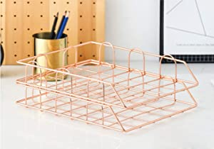 Shunmi 2 Piece Office Supplies File Stackable Horizontal Metal Document Letter Tray Organizer (Rose Gold)