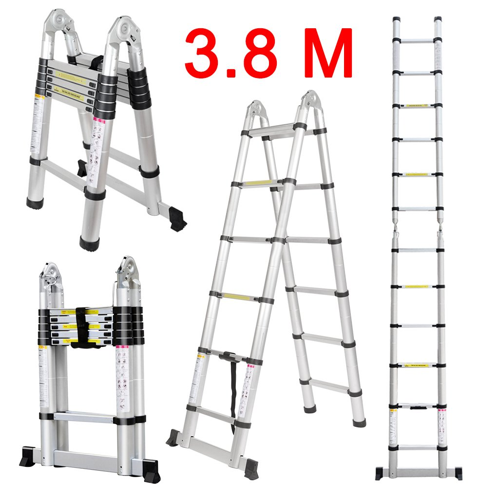 Finether 12.5ft Aluminum Telescopic Extension Ladder | Portable Heavy Duty Multi-Purpose Telescoping Ladder, EN 131 Certified A-Frame Ladder with Hinges,330 Lb Capacity by Finether (Image #2)
