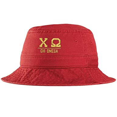 2d34ea6ae513e Express Design Group Chi Omega Greek Letter Bucket Hat Red at Amazon  Women's Clothing store: