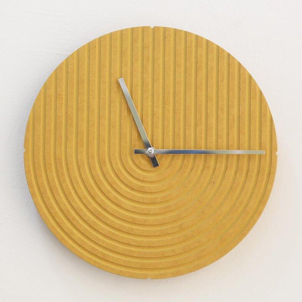 ホームアクセサリーウォールクロック壁時計 現代ミニマル円形ミュートアートウォールクロックベッドルームリビングルームオフィスファッションクォーツ指紋型ウォールクロック CHENGYI (色 : イエロー いえろ゜) B07D5WPZFH イエロー いえろ゜ イエロー いえろ゜