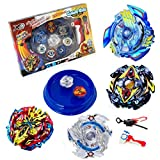LUCK TOYS Blue Battle Disk Set with 4 Battle Gyros 2 Launchers and 1 Battle Disk Combat Gyro Top Plate 4D Metal Fusion Special Retrofit Continuous Attack Type