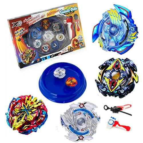 LUCK TOYS Blue Battle Disk Set with 4 Battle Gyros 2 Launchers and 1 Battle Disk Combat Gyro Top Plate 4D Metal Fusion Special Retrofit Continuous Attack Type by LUCK TOYS