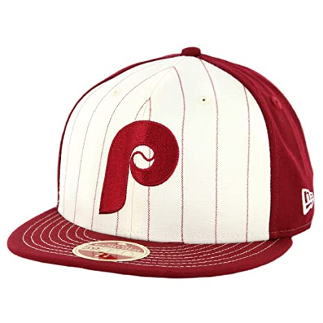 online retailer c9b53 99e73 Amazon.com   New Era 5950 Philadelphia Phillies Vintage Stripe Fitted Hat  (Maroon) Mens Cap   Clothing