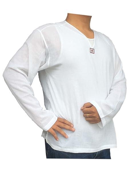 d0b59950 PJ Men Renaissance Shirt White Long Sleeves V Neck - Casual Hippie Yoga For  Holiday Beach