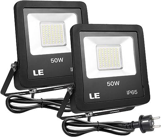 LE Foco LED 50W Blanco Frío 4000lm, Resistente al Agua IP65, Focos ...