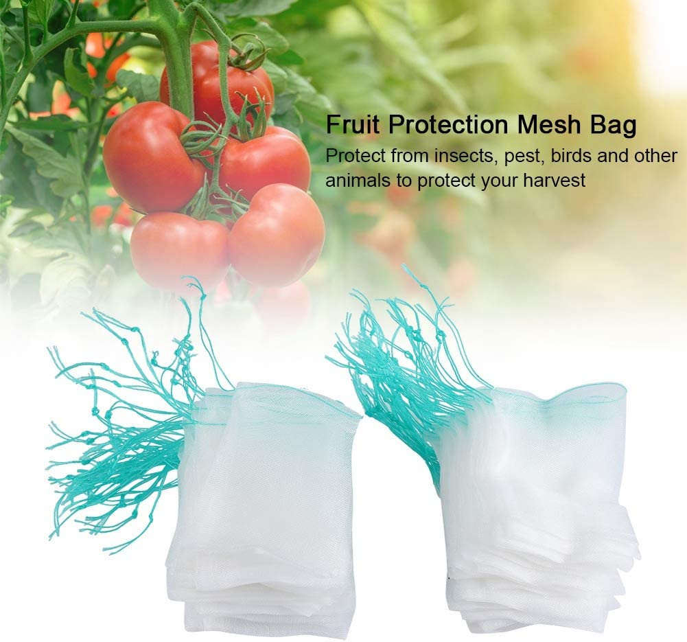 100pcs Plant Fruit Protection Bags Home Reusable Mesh Produce Bags Drawstring Mesh Bags Against Insects Birds Barrier Bags for Plant/&Fruits Mesh Bags