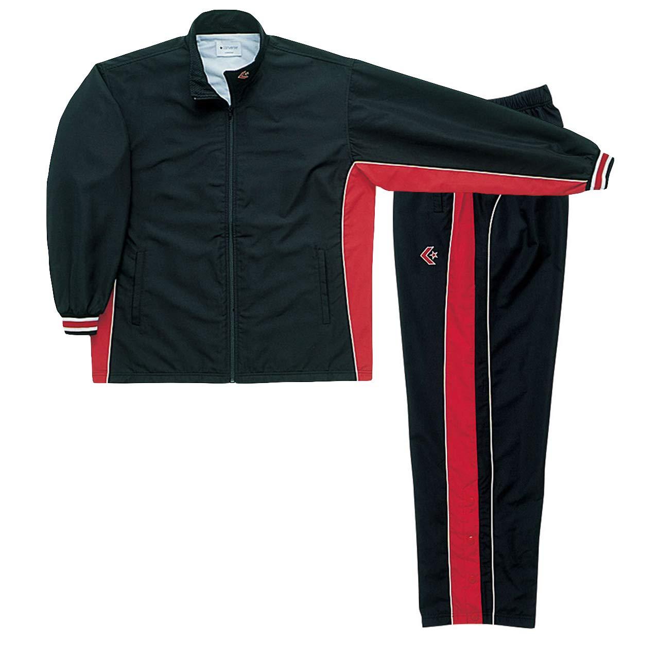 コンバース(converse) ウォームアップジャケット&パンツ(裾ボタン) 上下セット(ブラックレッド/ブラックレッド) CB182102S-1964-CB182112P-1964 B07HFQ9VPF ブラックレッド XO