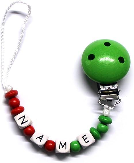 Baby Chupete con cadena de perlas de madera y nombre personalizado. Italia – Italy hasta 10 letras Aurora: Amazon.es: Bebé