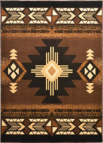 Western Essence Rugs 4 Less Collection Southwest Native American Indian Door Mat Area Rug Design Brown Chocolate 318 ()