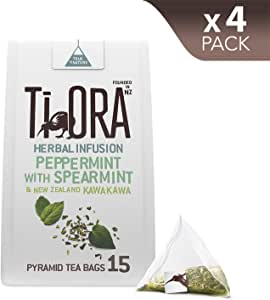 Ti Ora Herbal Infusion – Peppermint with Spearmint & New Zealand Kawakawa - 4 Packs of 15 Pyramid Tea Bags (60 Serves), 4 x 16.5 g