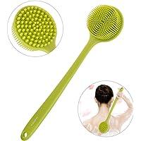 Pretty See Dusche Körper Bürste Silikon Badebürste kraftvolle Reinigung Schrubber mit sehr weichen Borsten und langem Griff, grün