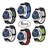 Samsung Gear S3 Frontier/Classic Watch Bands Hagibis 22mm Solid Stainless Steel Metal Business Replacement Silicon Bands Samsung Gear S3 Frontier / S3 Classic Sports Smart Watch Fitness (6 Pack)
