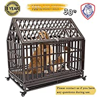 Gelinzon Heavy Duty Dog Cage Crate Kennel Roof Large Homestead Serise for Large Dogs with Patent Lock, Tray and Four Lockable Wheels, 38