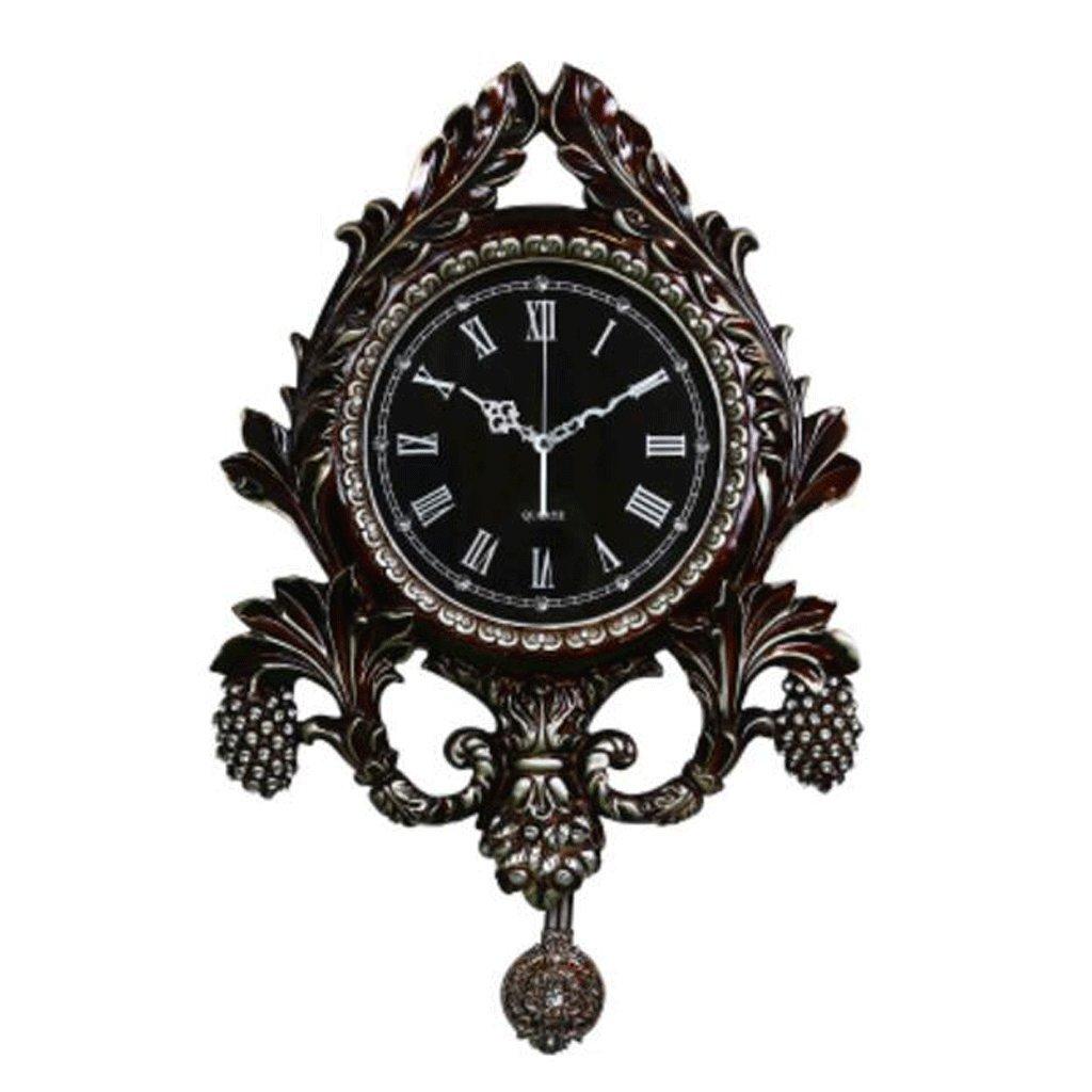 WTL ウォールクロック クリエイティブな牧歌的なリビングルーム寝室の壁時計レトロノスタルジックな装飾的な振り子の時計クォーツ時計大きなミュート (色 : D) B07FL4R5CP D D