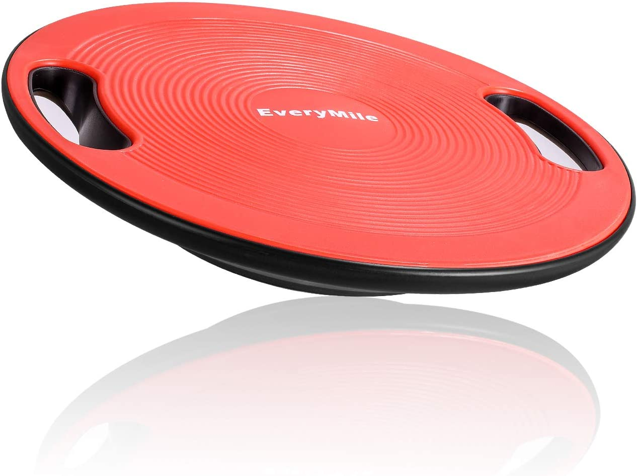 EveryMile Wobble Balance Board, Exercise Balance Stability Trainer Portable Balance Board with Handle for Workout Core Trainer Physical Therapy Gym 15.7 Diameter No-Skid Surface