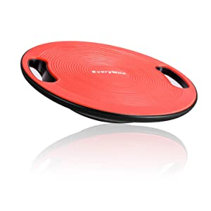 "EveryMile Wobble Balance Board, Exercise Balance Stability Trainer Portable Balance Board with Handle for Workout Core Trainer Physical Therapy & Gym 15.7"" Diameter No-Skid Surface"