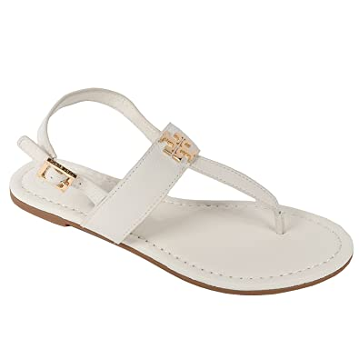 e7c86f024210a6 Amazon.com  Tory Burch Laura Flat Sandal with Strap Style 36487 Ivory Gold  (8.5)  Shoes
