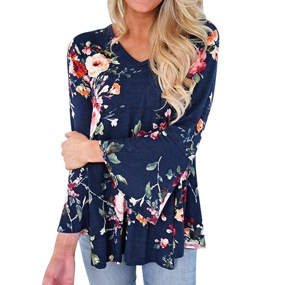 Blusa 2018 by BaZhaHei, Blusa con Camisas Mujeres del otoño Ocasional de impresión Floral Larga