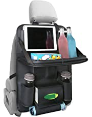 Apsung Car Backseat Protector with Leather Foldable Dining Table Tray for Baby and 10 Storage Organizers with Tablet Holder (Black(1P))