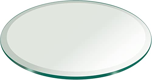 34 Inch Round Glass Table Top 1 2 Thick Tempered Beveled Edge