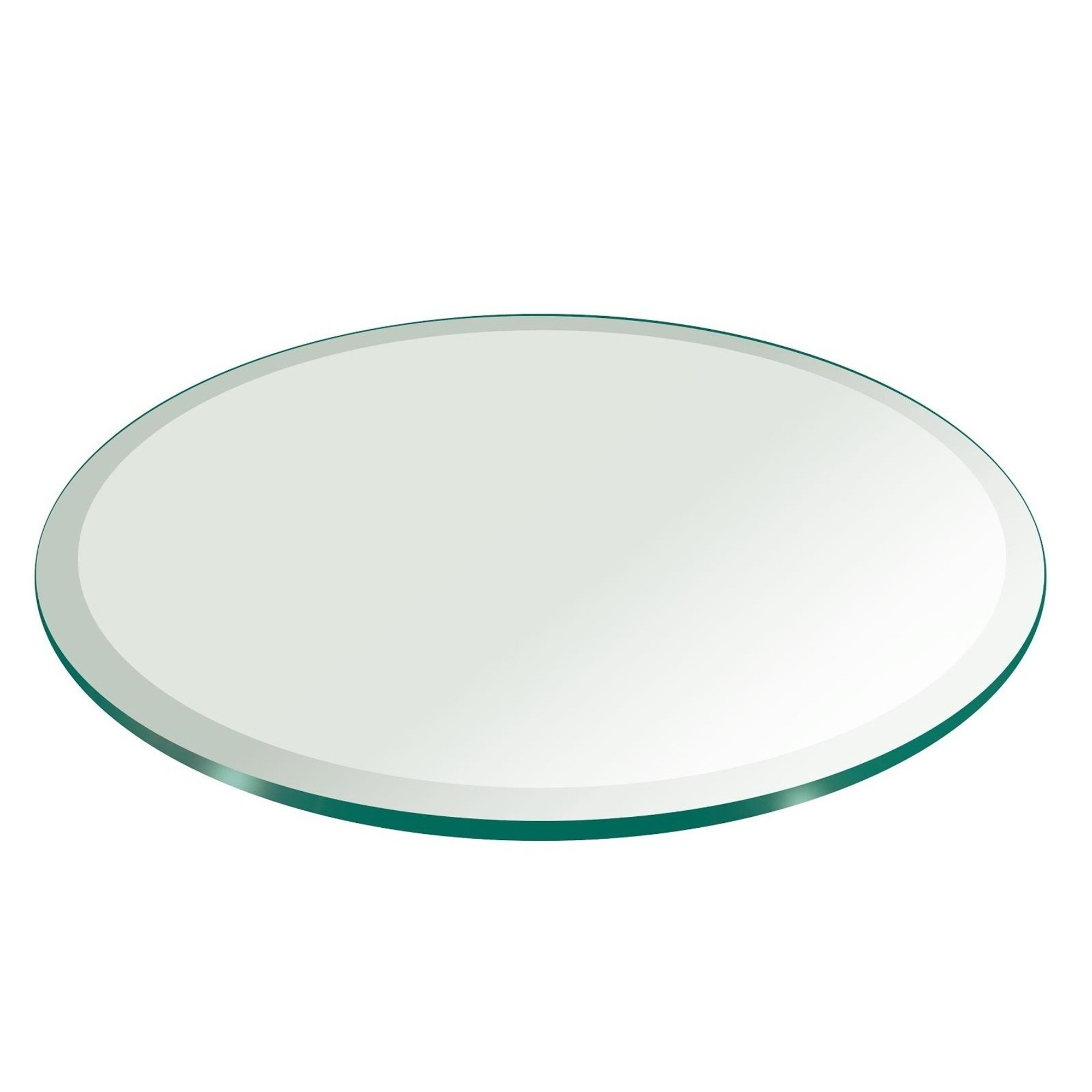 18'' Inch Round Glass Table Top 1/2'' Thick Tempered Beveled Edge by Fab Glass and Mirror