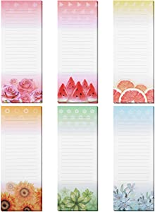 STOBOK Magnetic Notepads Self-stick Memo Pad with 6 Different Designs for Fridge Grocery Shopping Message Reminders 6PCS