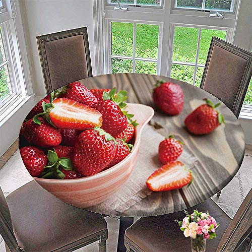 PINAFORE HOME Elasticized Table Cover Strawberries in a Bowl on Wooden Table with Low Key Scene Machine Washable 43.5