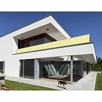 Balkon Sichtschutz Gelb Weiss 500x90 Balkonsichtschutz