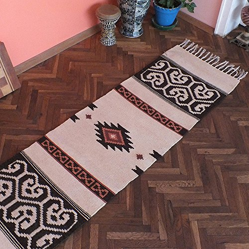 White handwoven kilim rug, bohemian rug runner, bedroom rug, boho rug, home decor rug