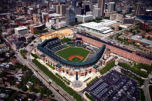 LAMINATED 30x20 inches POSTER: Camden Yards Baltimore Maryland Hdr Baseball Orioles Sports City Cities Urban Landmark Aerial View Downtown Cityscape Stadium - Yards Orioles Camden Baltimore