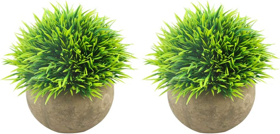 Svenee Mini Artificial Plants, Plastic Fake Green Grass Faux Greenery Topiary Shrubs with Grey Pots for Bathroom Home Office Décor, House Decorations (Green-A, 2)