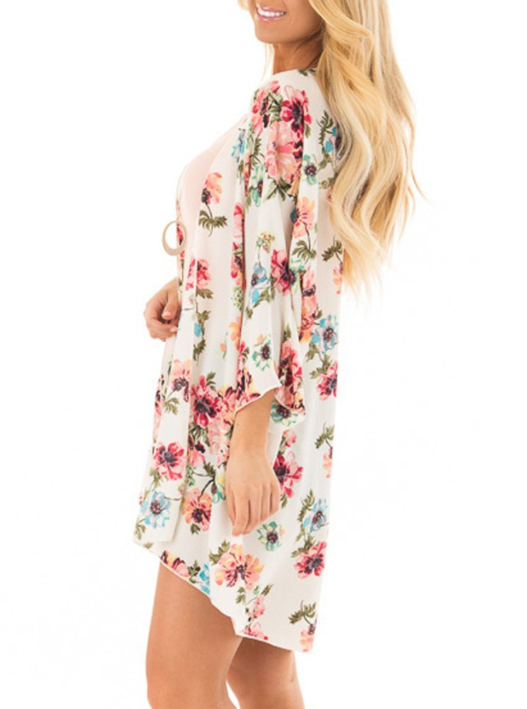 PINKMILLY Women Floral Print Kimono Cover up Sheer Chiffon Blouse Loose Long Cardigan Apricot Small by PINKMILLY (Image #4)