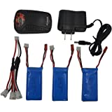 Blomiky 3pcs 7.4V 1200mAh Battery and Charger for YIZHAN X6 JJRC H40WH H16 MJX X101 JJRC H40 TOZO C1025 RC CAR MJX X101 Wltoys V353 V353B V666 V262 A949 A969 K929 V912 V915 UDI U829X X6 Battery 3