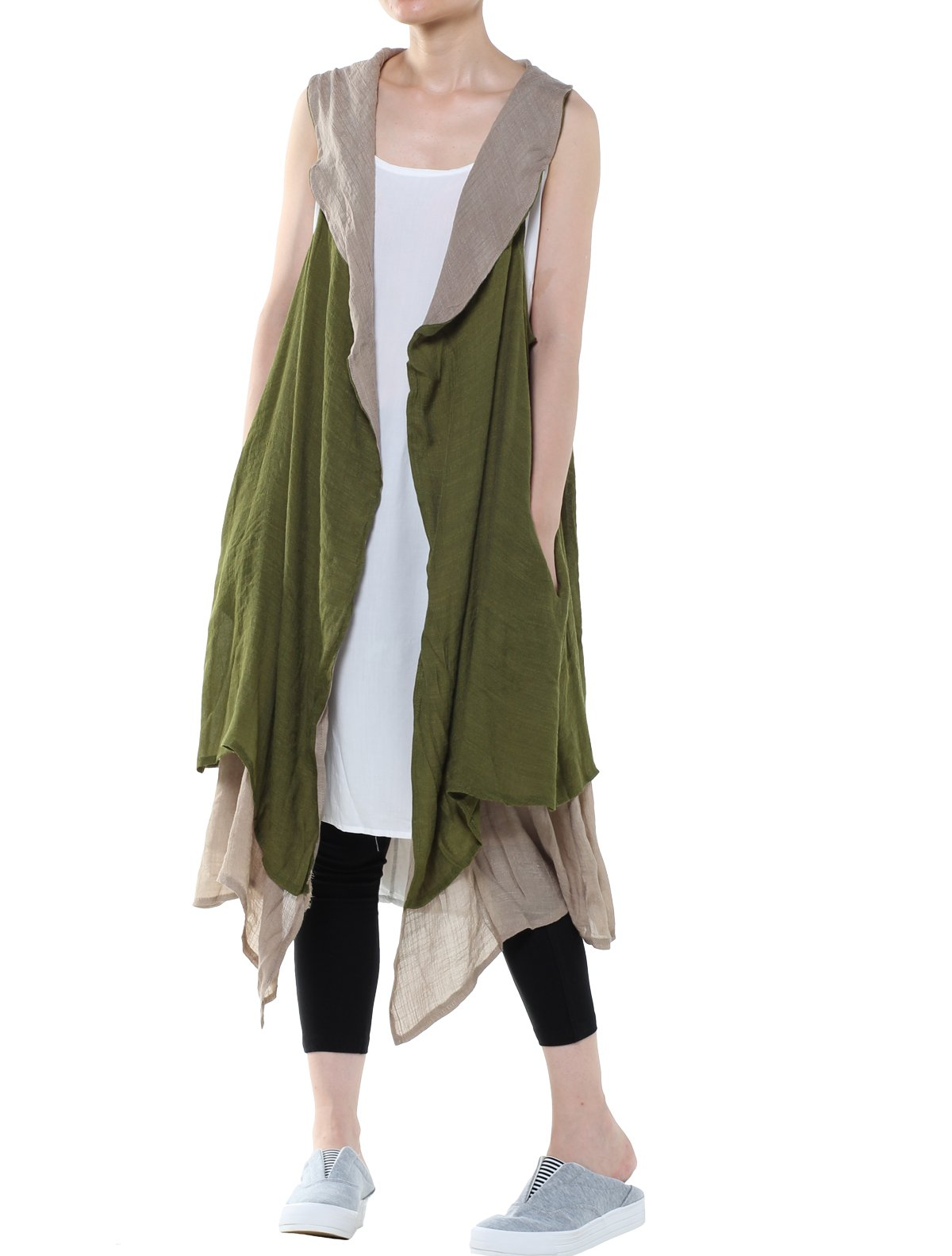 Minibee Women's Cotton Linen Cardigan Summer Thin Vest Two Side Pockets (Style 1 Green)