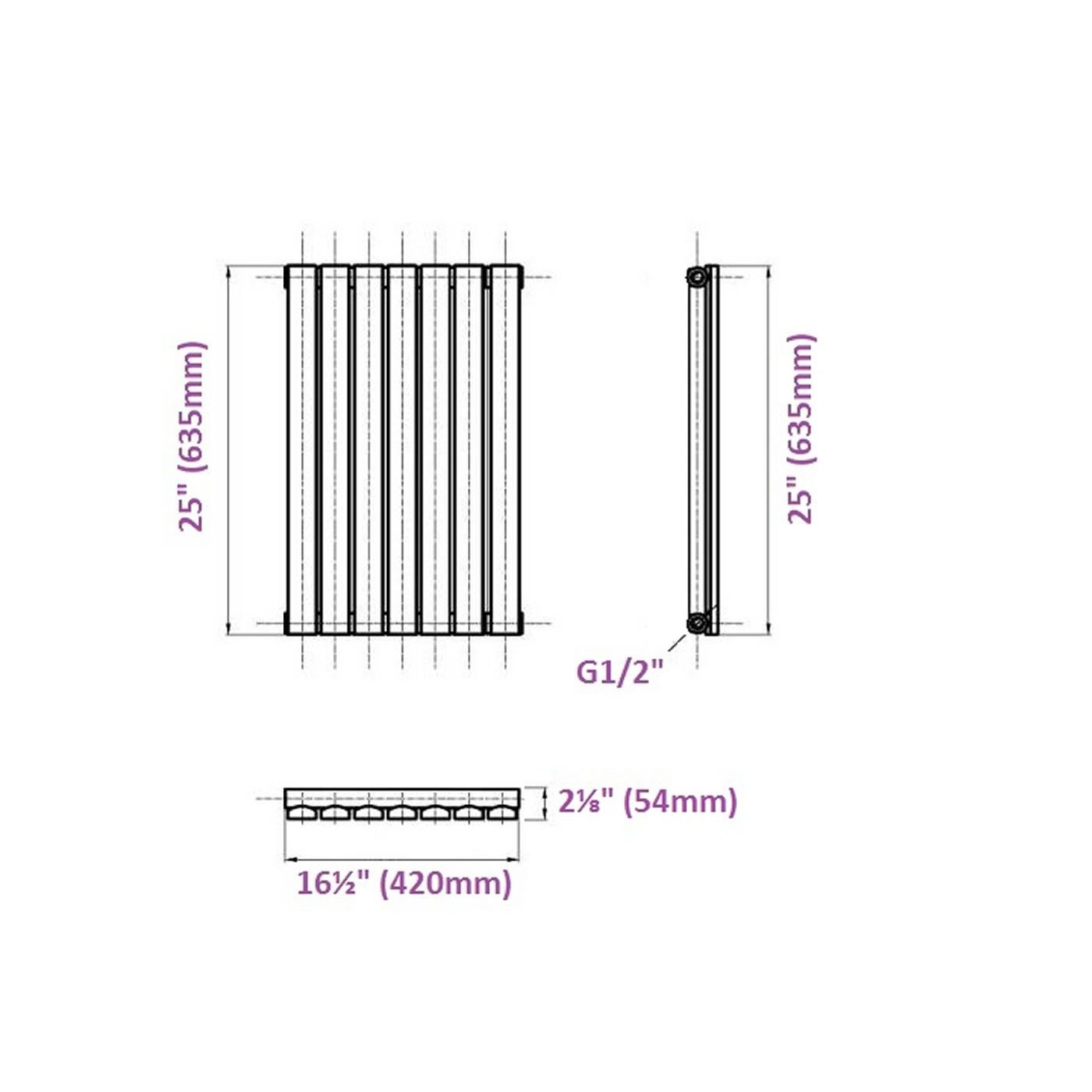 Calefacci/ón Radiador con Acabado Negro Paneles Planos 376W Hudson Reed Radiador de Dise/ño Moderno Horizontal Delta 635 x 420mm