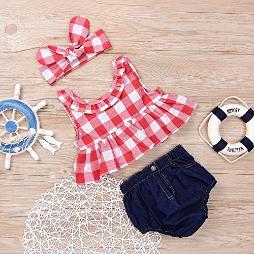 MILWAY Baby Girls Plaid Ruffle Bowknot Tank Top Denim Shorts With Headband Outfits Set (Red, 70/0-6M)