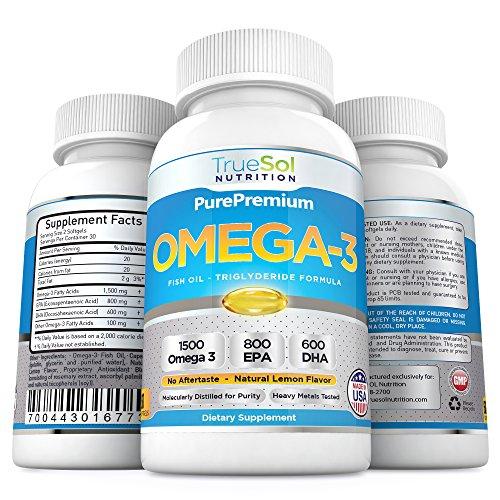 Vrai Sol - Omega 3 huile de poisson - supplément d'huile de poisson Triple Force (1500 mg Acides gras oméga 3: 600mg DHA + 800 mg d'EPA par portion)