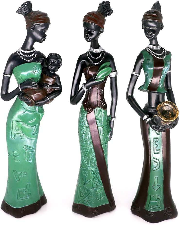 "Mary Paxton 3 Pack African Statues Figurines, 7.5"" African Woman Sculpture Girl Polyresin Exotic Tribal Lady Figurine Statue Decor Collection Statue Home House Collectible Art Craft Gift Vintage"