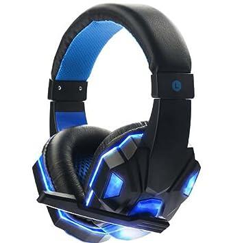 Cómodo LED 3.5mm Gaming estéreo LED Iluminación Diadema para auriculares con oreja sobre la oreja