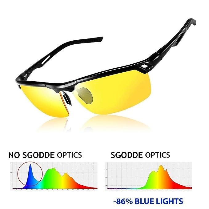 SGODDE Gafas de Conducción Nocturnas, Gafas de Sol Deportivas Polarizado Anti-UV Revestimiento Antirreflectante